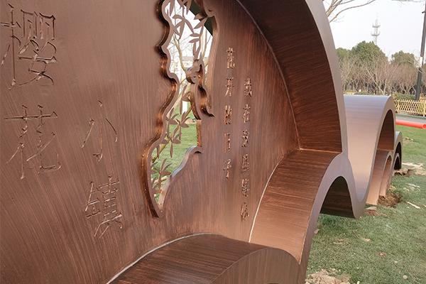 浙江嘉兴平湖区不锈钢板仿木刷纹案例展示