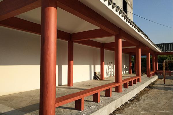 广州从化区江浦街道新明村长廊仿木纹漆案例