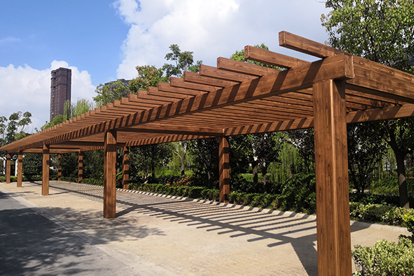 江苏南通海门钢结构廊架仿木纹漆
